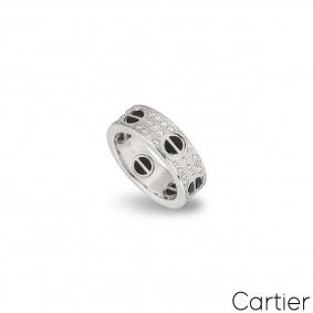 Cartier White Gold Diamond & Ceramic Love Ring Size 49 B4207600